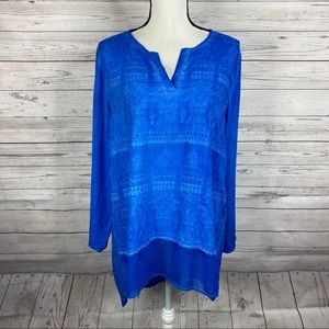Soft Surroundings blue embroidered Miraval tunic